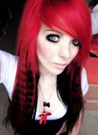 Sexy-cute-red-and-black-emo-hairstyles-two-tone-hair-color ...