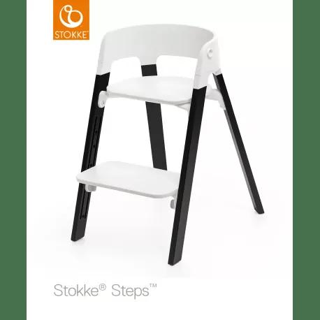 Silla STOKKE STEPS Blanca con Patas de Madera de Roble Natural