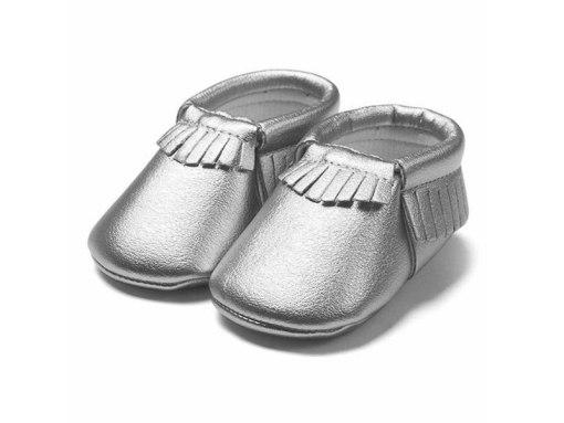 Zilveren babyschoentjes mocassin stijl