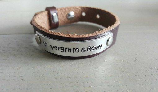 Leren armband met naam