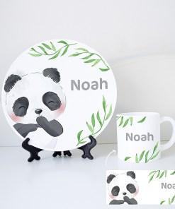 Serviesset met naam - panda