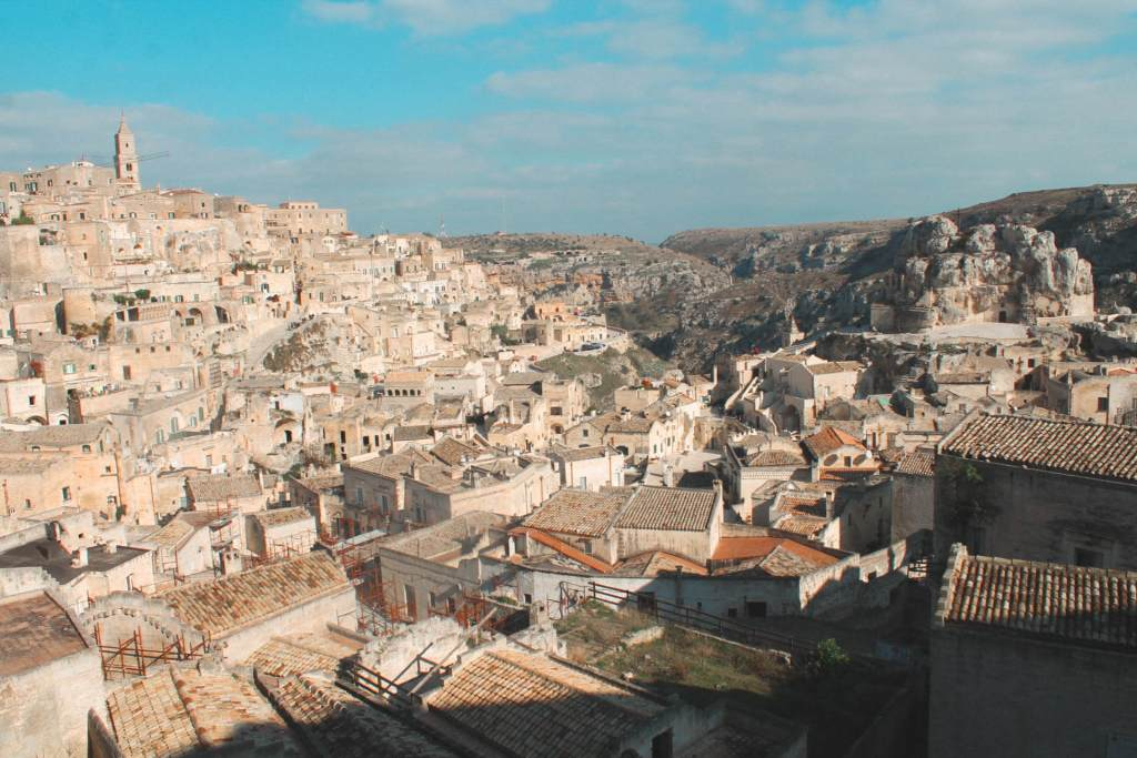 paesaggio di Matera vista dall'alto