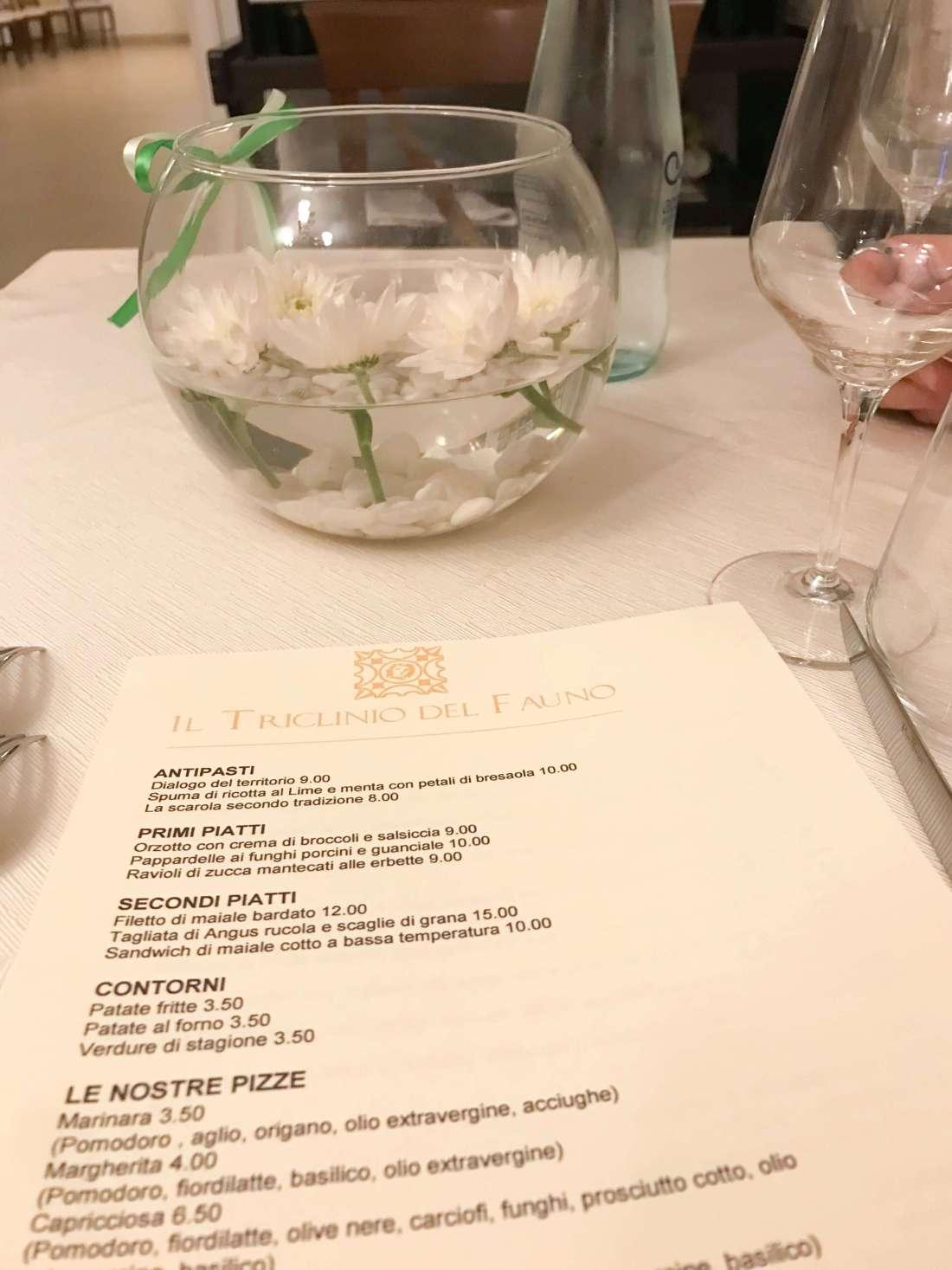 week end relax Il triclinio del fauno menu-min