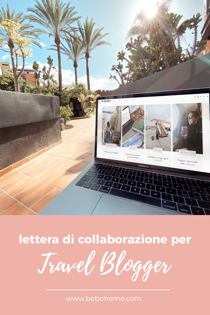 Lettera di collaborazione per travel blogger