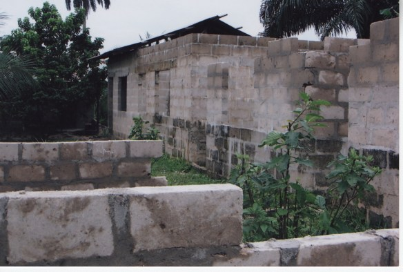 Our third and final classroom building in Bodo under construction in August 2005.