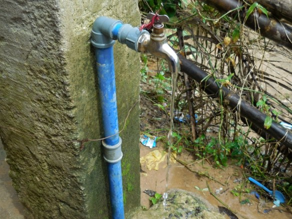 Water running from one of the taps at our school in Bori, July 2015.