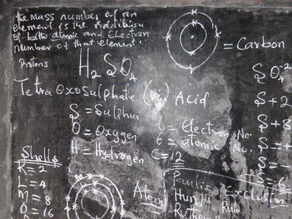 A science lesson on the blackboard in one of our classrooms, July 2015.