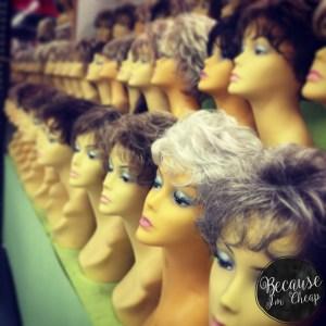 Wigs for sale at Caesar Creek Flea Market in Wilmington Ohio