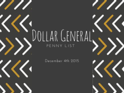 Dollar General Penny Items December