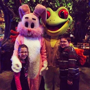 The kids Last weekend at the Rainforest with the Easter Bunny that had boobs and ChaCha the Frog.