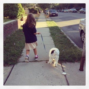 I let Dexter take Julia for a walk.