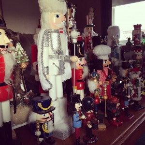 33 Nutcrackers and counting. I love my Christmas friends. I try to find the most unique nutcrackers that I can. It's fun to search them out. I would love to get one more this year. :)