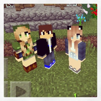 Finally got a Minecraft picture of the 3 of us. Me, Ryan and Julia. I always have fun playing with them but they make me do all the work...like real life.