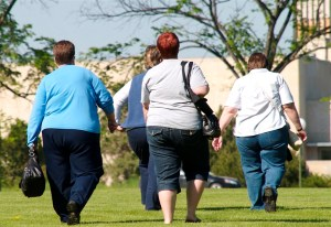 obese people walking