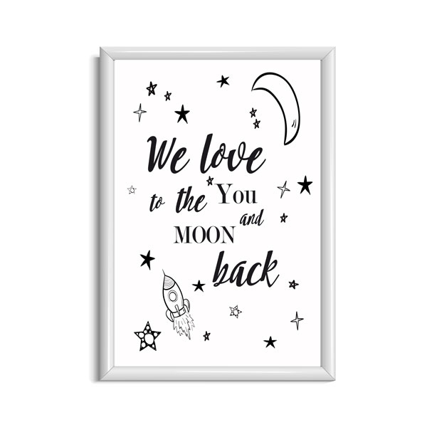 I love you to the moon and back poster babykamer