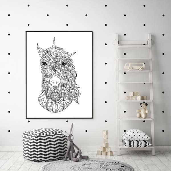 Zwart wit kinderkamer poster met unicorn  Kinderkamer