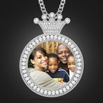 african american family photo printed locket necklace memory crystal inlaid