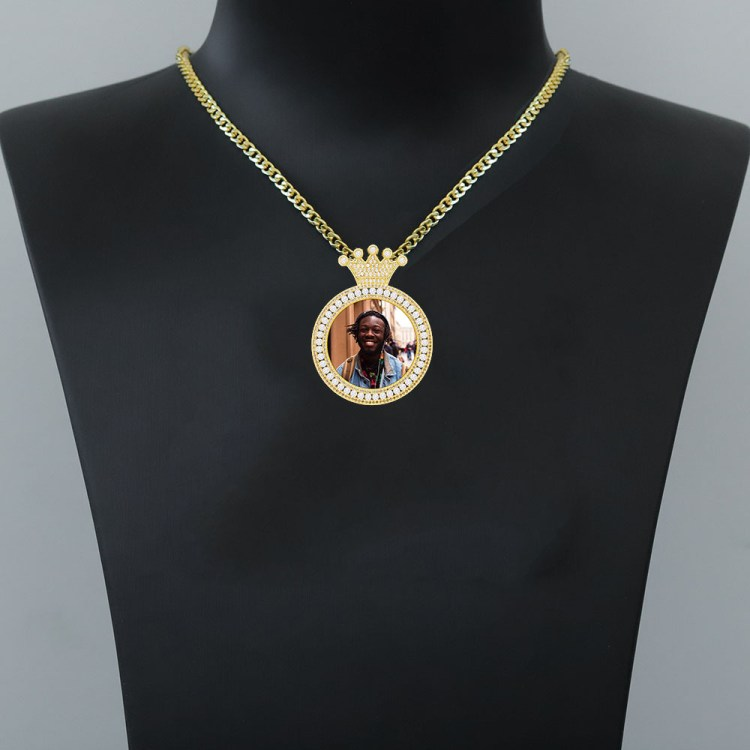 crystal crown iced out sparkling photo engraved locket memory colored print pendant nameplate photo necklace