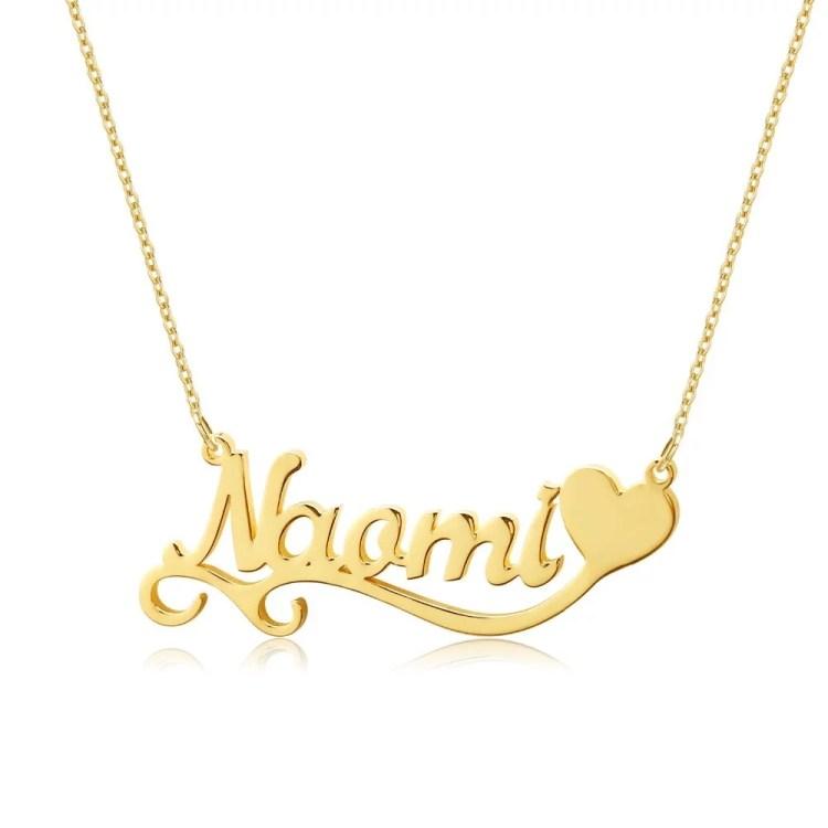Custom Gold Single Heart Single Name Necklace Wavy Chain