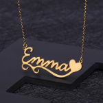 Wave Ribbon Style Custom Name Single Heart Personalized Name Chain Necklace