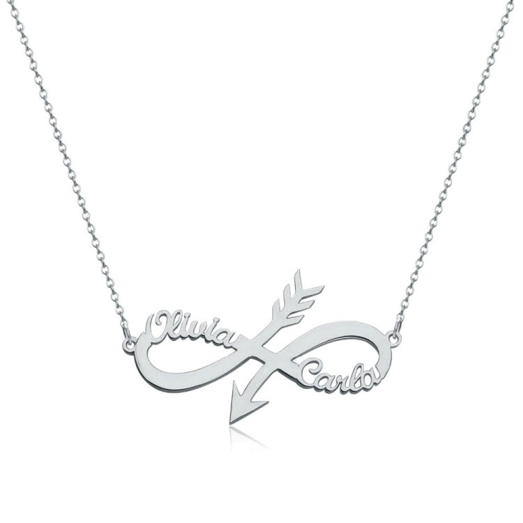 custom arrow personalized two name couple loved ones name necklace arrow head infinity symbol