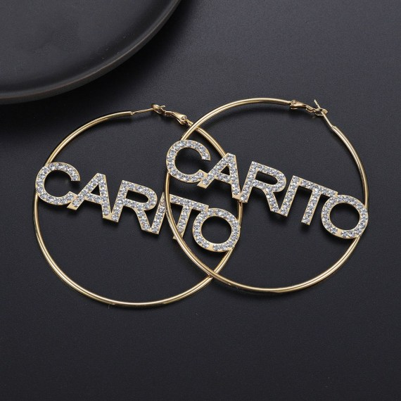 personalized bling name custom hoop earrings