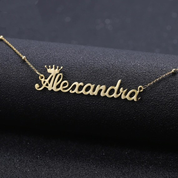 Crown Name Necklace Satellite Chain Necklace Shine Name Necklace Custom Name