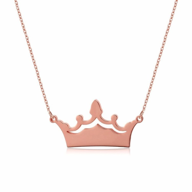 Engraved Crown Name Plate Single Name Custom Jewelry Women's Name Necklace