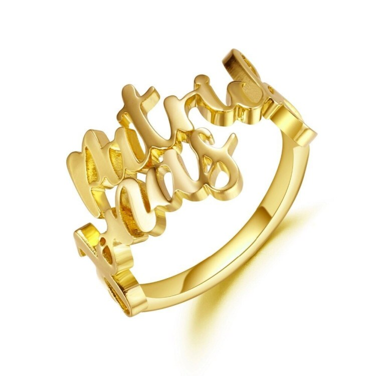 Gold Custom Name Plated Best Quality Spring Ring For Lovers