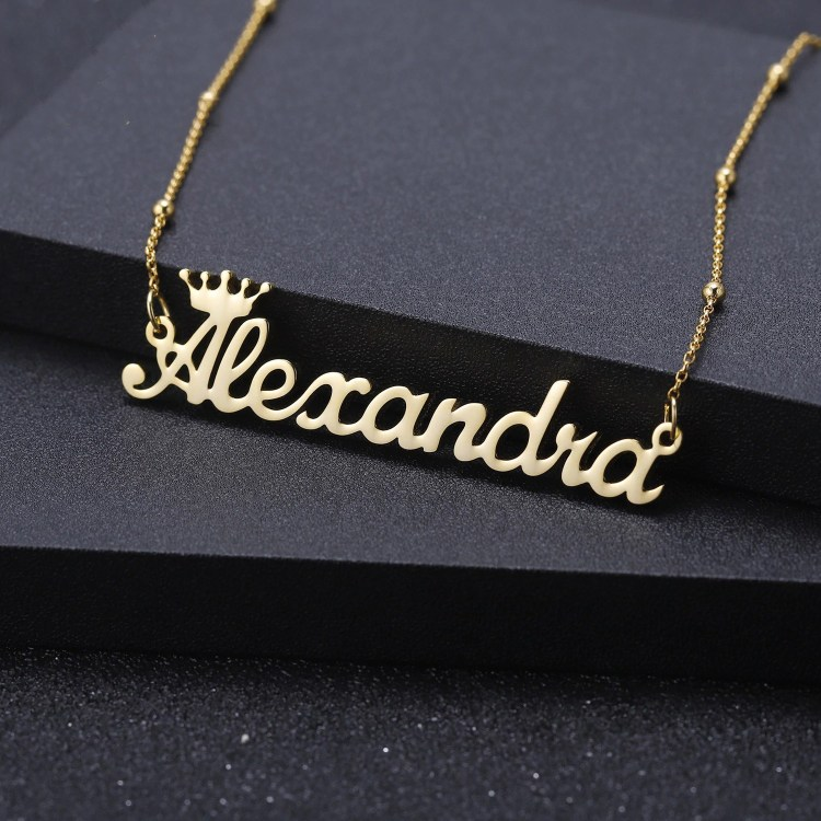 Gold Personalized Custom Name Satellite Chain Necklace For Women