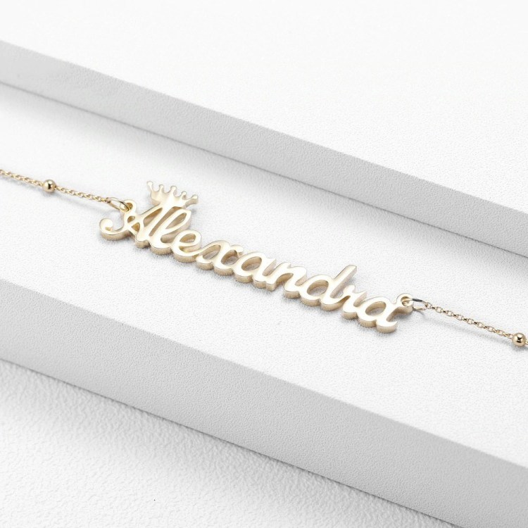 Gold Silver Rose Gold Custom Name Crown Name Necklace For Women