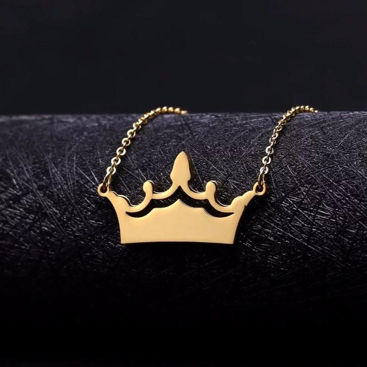 Kings Crown Custom Nameplate Necklace Women's Jewelry Single Name