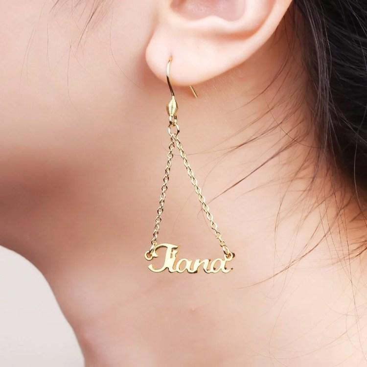 Personalized Dangle Custom Name Earrings For Women Beceff Custom Name Jewelry