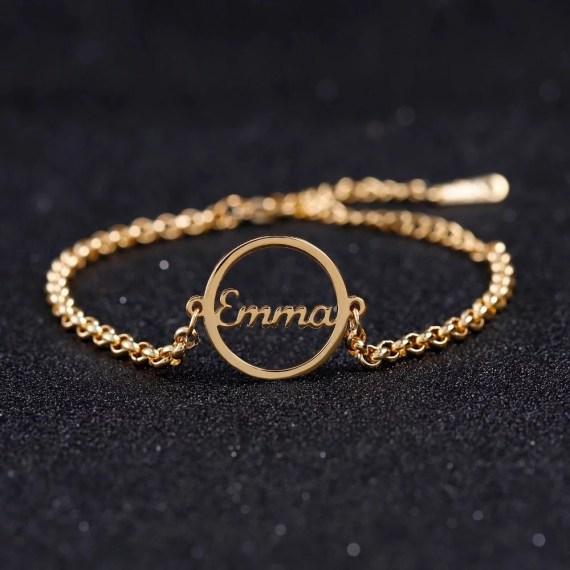 Round Name Pendant Bracelet My Beautiful Name Bracelet Casual Regular Wear Jewelry