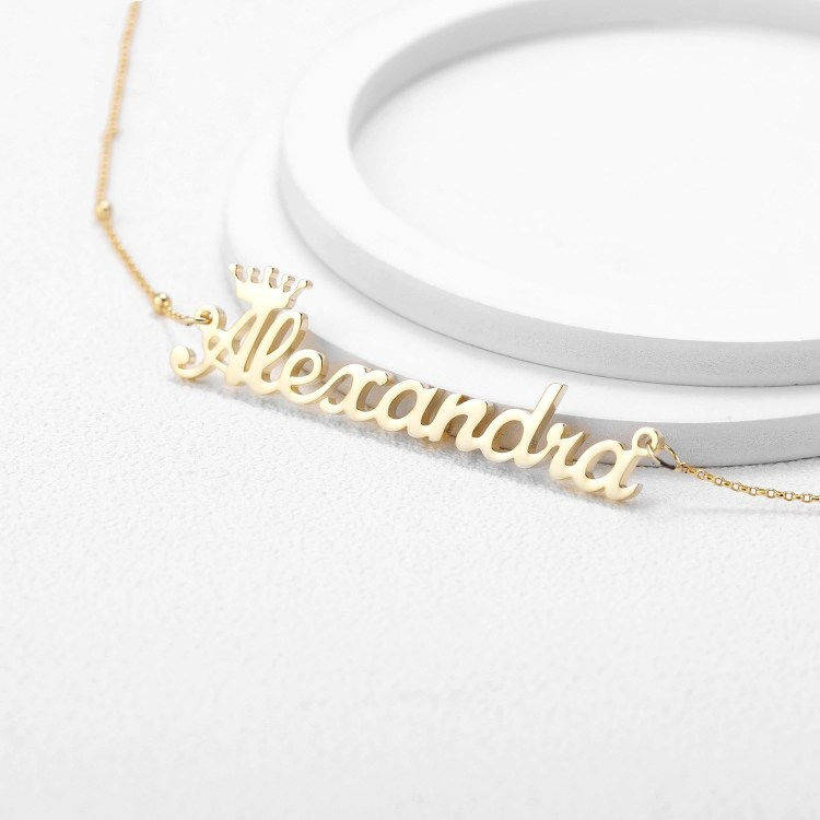 Simple Crown Single Name Custom Name Necklace Personalized Women's Name Chain