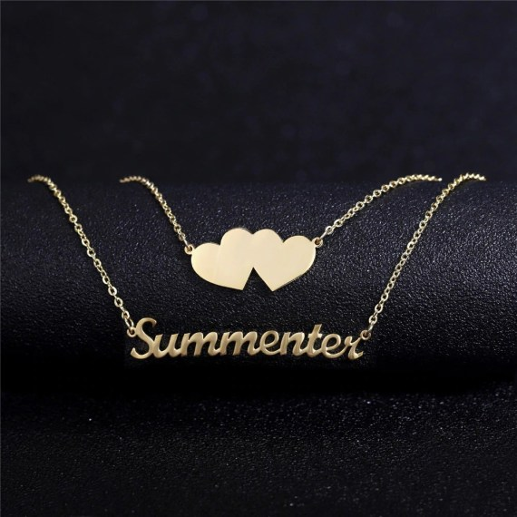 Two Heart Best Quality Stainless Steel Single Custom Name Personalized Necklace