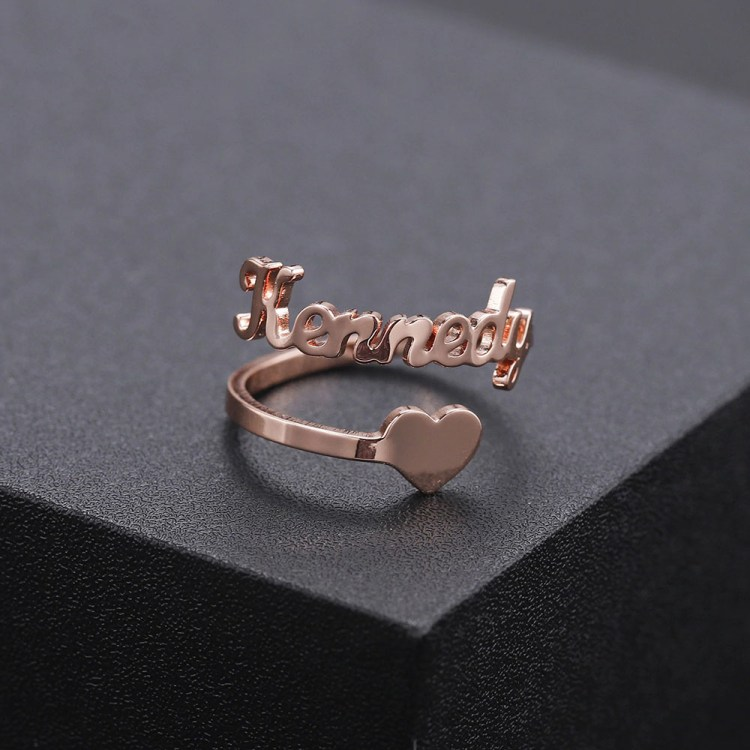 Beceff Custom Personalized Name Ring With Kennedy Rose Gold Color