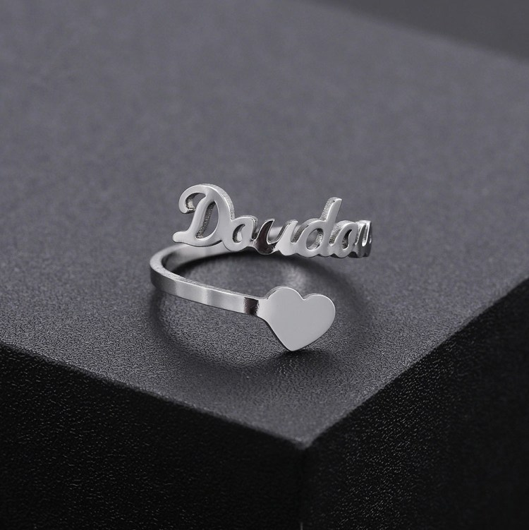Personalized Adjustable Silver Custom Name Ring For Her Women Wife Girlfriend Valentine