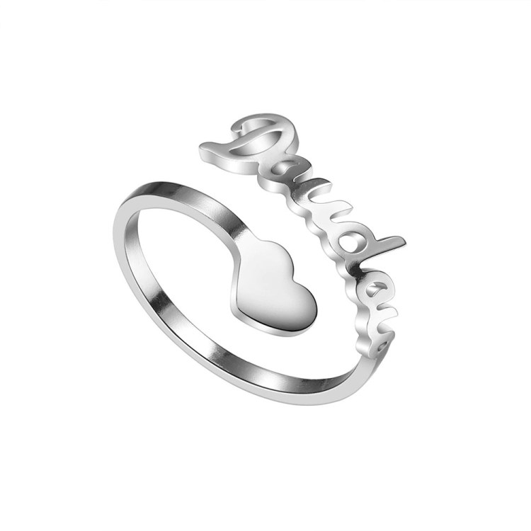 Personalized Heart Name Single Ring
