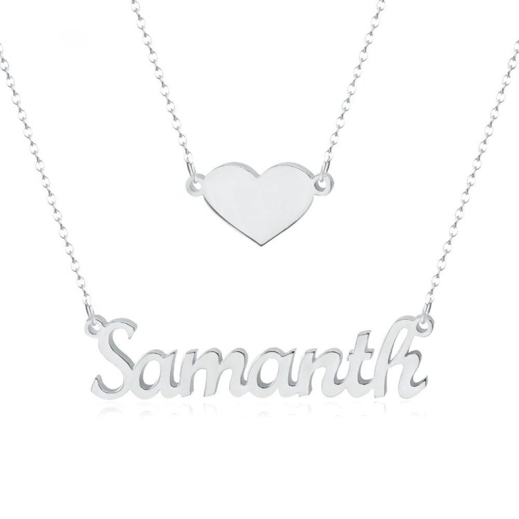 Heart Layer Name Necklace Beautiful Custom Name Necklace With Heart Nameplate Pendant