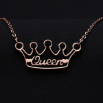 Personalized Crown Name Necklace Queen's Custom Name Necklace Crown Nameplate Pendant Necklace Gold Silver Rose Gold