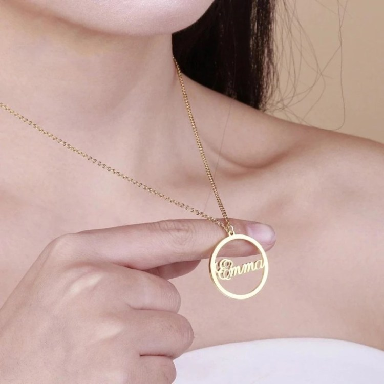 Casual Wear Round Name Pendant Necklace Women's Casual Jewelry