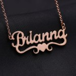Heart Name Necklace With Ribbon Under The Name Love Jewelry For Women
