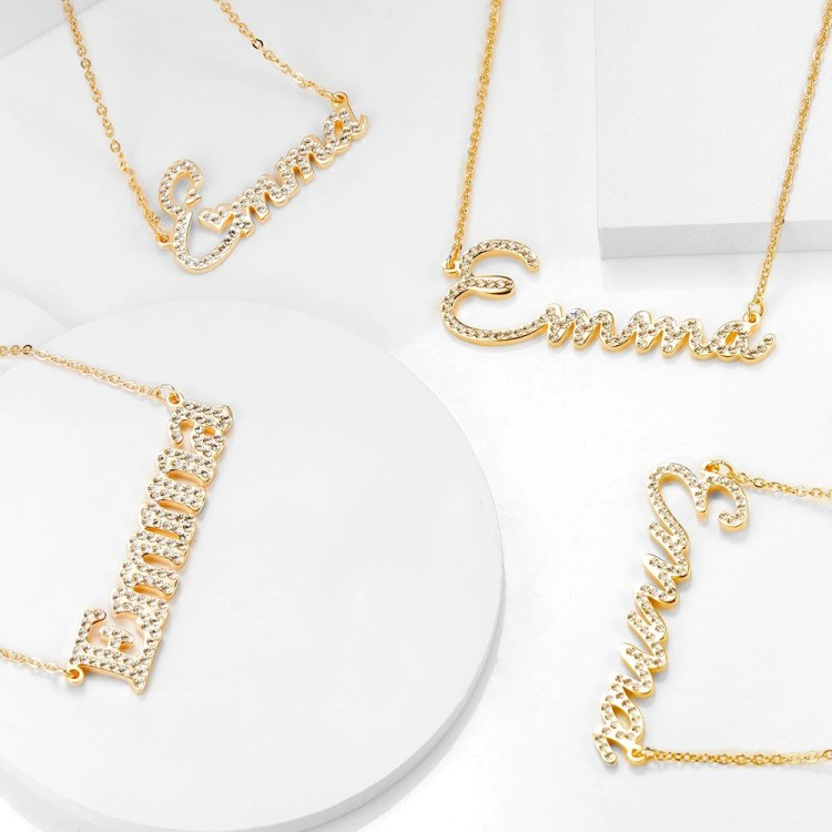 crystal minimalist simple font cubic zirconia name necklace designs