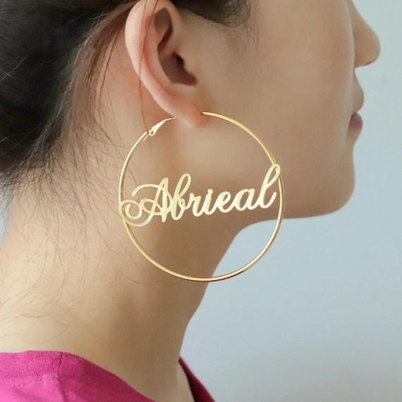 60mm Custom Hoop Name Earrings Beceff