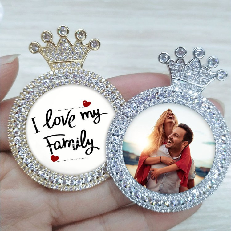 Custom Personalized Photo Sparkling Crown Necklace with Family Couple Memory Pictures