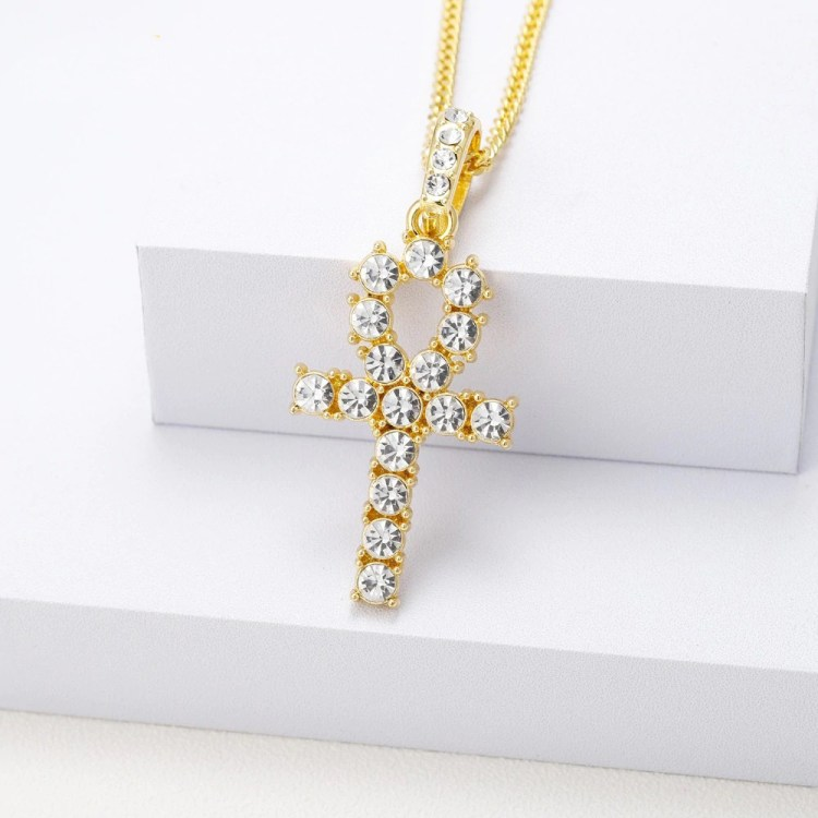 sparkling crystal iced out cross necklace
