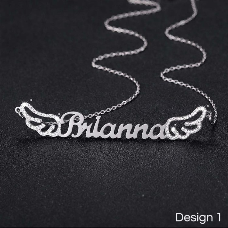 custom angel wings sparkling crystal feathers name necklace jewelry pendant