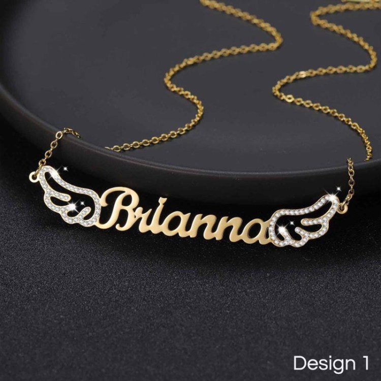 custom personalized angel wings name necklace custom jewelry for women gold color gift
