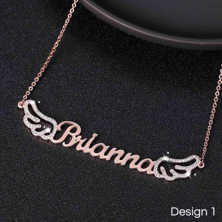 rose gold custom angel wings name pendant for women with crystal cz sparkling Swarovski crystals